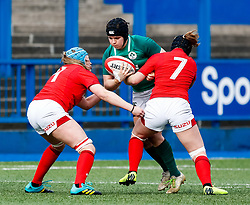 Ciara Griffin of Ireland  under pressure from Bethan Lewis of Wales<br /> <br /> Photographer Simon King/Replay Images<br /> <br /> Six Nations Round 5 - Wales Women v Ireland Women- Sunday 17th March 2019 - Cardiff Arms Park - Cardiff<br /> <br /> World Copyright © Replay Images . All rights reserved. info@replayimages.co.uk - http://replayimages.co.uk