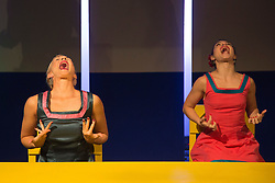 """© Licensed to London News Pictures. 05/10/2015. London, UK. Pictured: Welly O'Brien and Nicole Guarino. Caroline Bowditch's """"Falling in Love with Frida"""" explores the life, loves and legacy of disabled artist Frida Kahlo at the Lilian Baylis Studio/Sadler's Wells on 5-6 October 2015. Performed by Caroline Bowditch, Welly O'Brien, Nicole Guarino and Yvonne Strain (sign language interpreter). Photo credit: Bettina Strenske/LNP"""