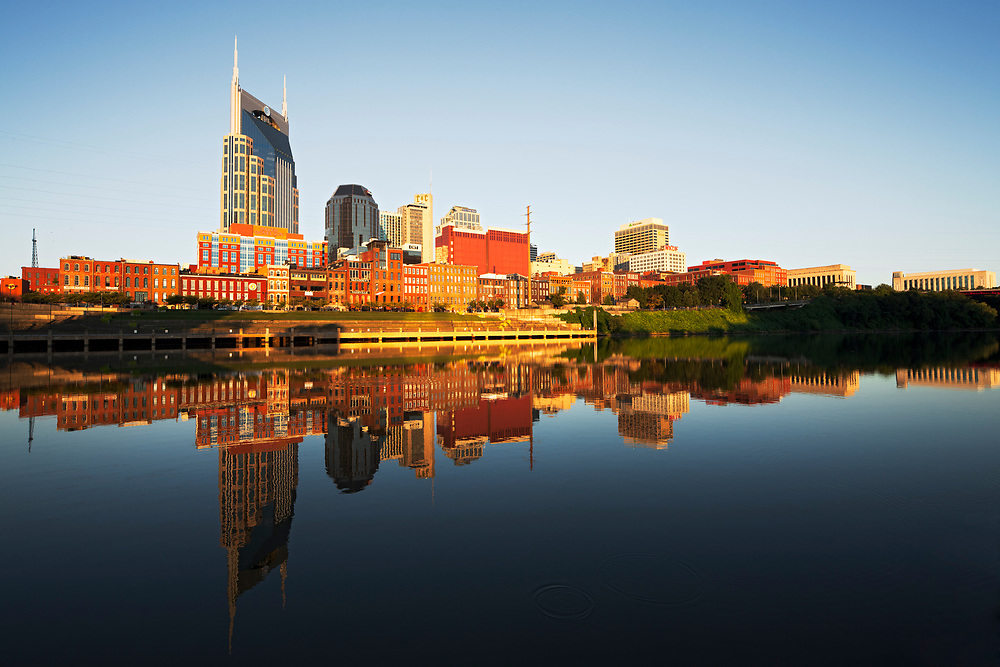 Nashville downtown reflection at sunrise