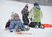 Kayley Milligan catches snowflakes with her big sister Lilly holding on as they go sledding down Memorial Park's sledding hill with Brayden Drew and his mother Ashley Ledoux getting ready for their turn during Thursday's blizzard.   (Karen Bobotas/for the Laconia Daily Sun)