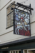 The George Inn sign on the 24th September 2019 in London in the United Kingdom. The George Inn is an authentic 17th-century coaching inn and pub near London Bridge.
