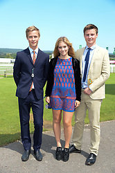 Left to right, the HON.WILLIAM GORDON-LENNOX, LOUISA PATTISON and HARRY DONALD at the 3rd day of the 2013 Glorious Goodwood racing festival - Ladies day at Goodwood Racecourse, West Sussex on 1st August 2013.