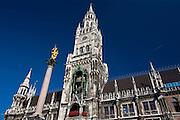 The Rathaus town hall, Glockenspiel and monument at Marienplatz in Central Munich, Bavaria, Germany