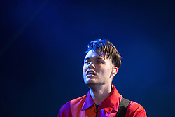 © Licensed to London News Pictures . 06/06/2015. Manchester , UK . JEREMY PRITCHARD . Everything Everything perform on the Big Top stage at The Parklife 2015 music festival in Heaton Park , Manchester . Photo credit : Joel Goodman/LNP