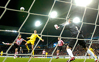 Photo: RIchard Lane.<br />PSV Eindhoven v Liverpool. UEFA Champions League, Quarter Final, 1st Leg. 03/04/2007. <br />Liverpool's Peter Crouch (c) heads in a goal.
