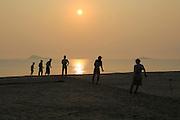 Sunset traditional seine fishing hauling nets Nilavelli beach, near Trincomalee, Eastern province, Sri Lanka, Asia
