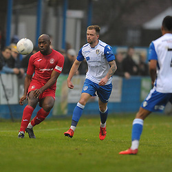 TELFORD COPYRIGHT MIKE SHERIDAN Theo Streete of Telford during the Buildbase FA Trophy 3Q fixture between Guiseley and AFC Telford United at Nethermoor Park on Saturday, November 23, 2019.<br /> <br /> Picture credit: Mike Sheridan/Ultrapress<br /> <br /> MS201920-031