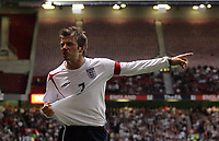 Photo: Paul Thomas.<br /> England v Hungary. International Friendly. 30/05/2006.<br /> <br /> David Beckham of England has a strong word to the linesman after Peter Crouch had his shirt pulled in the penalty area.