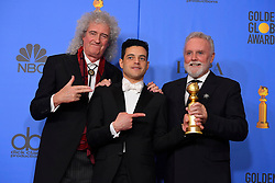 January 6, 2019 - Los Angeles, California, U.S. - Rami Malek, winner for ''Bohemian Rhapsody,'' with Queen's Brian May, left, and Roger Taylor in the Press Room during the 76th Annual Golden Globe Awards at The Beverly Hilton Hotel. (Credit Image: © Kevin Sullivan via ZUMA Wire)