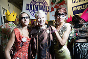 Alice Dellal, Vivienne Westwood and Lizzy Jagger backstage at the Vivienne Westwood Red Label show during London Fashion Week SS16 at Ambika P3 on September 20, 2015 in London, England.<br /> <br /> Photos Ki Price