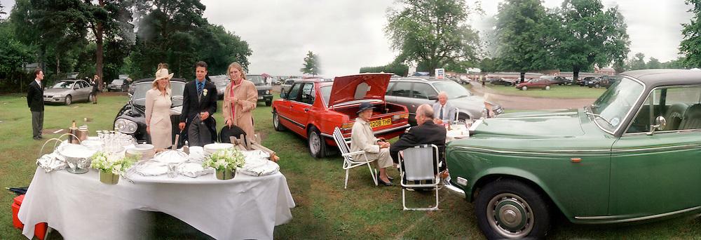 Miss Alice Bamford, Tom Magnier, Melissa Lilley having a picnic in the carpark, Ascot Thursday  June 1998  © Copyright Photograph by Dafydd Jones  66 Stockwell Park Rd. London SW9 0DA  Tel 0171 733 0108