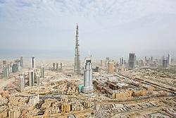 Burj Dubai skyscraper under construction in Dubai, United Arab Emirates, in 2008. Construction of the tallest man-made structure on Earth began on September 21, 2004