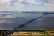Nederland, Zeeland, Oosterschelde, 09-05-2013; Zeelandbrug over de Oosterschelde tussen Noord-Beveland en Schouwen-Duiveland (onder in beeld).<br /> Zeeland bridge across the Oosterschelde, south-west Netherlands.<br /> luchtfoto (toeslag op standard tarieven)<br /> aerial photo (additional fee required)<br /> copyright foto/photo Siebe Swart