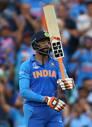 India's Ravindra Jadeja reaches his half centaury during the ICC Cricket World Cup Warm up match at The Oval, London.