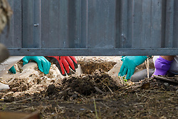 © Licensed to London News Pictures. 16/05/2017. London, UK. The hands of a police search team are seen removing blocks of concrete from an area dug up by a drill.  A police search team continue to search for the body of murdered schoolgirl Danielle Jones at a block of garages in Stifford Clays in Thurrock, Essex. The 15-year-old was last seen on Monday June 18 2001 at about 8am when she left her home in East Tilbury to catch the bus to school.  Photo credit: Ben Cawthra/LNP