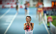 Turkey's Elvan Abeylegesse celebrates as she crosses first the finsh line of the 10,000m final at the 2010 European Athletics Championships at the Olympic Stadium in Barcelona on July 28, 2010