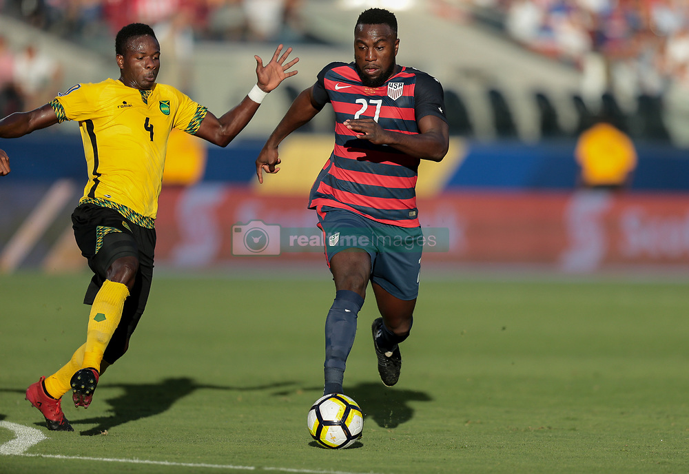 July 26, 2017 - Santa Clara, CA, USA - Santa Clara, CA - Wednesday July 26, 2017: Ladale Richie, Jozy Altidore during the 2017 Gold Cup Final Championship match between the men's national teams of the United States (USA) and Jamaica (JAM) at Levi's Stadium. (Credit Image: © John Dorton/ISIPhotos via ZUMA Wire)