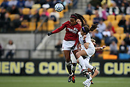 04 December 2011: Stanford's Mariah Nogueira (left) and Duke's Gilda Doria (right). The Stanford University Cardinal defeated the Duke University Blue Devils 1-0 at KSU Soccer Stadium in Kennesaw, Georgia in the NCAA Division I Women's Soccer College Cup Final.