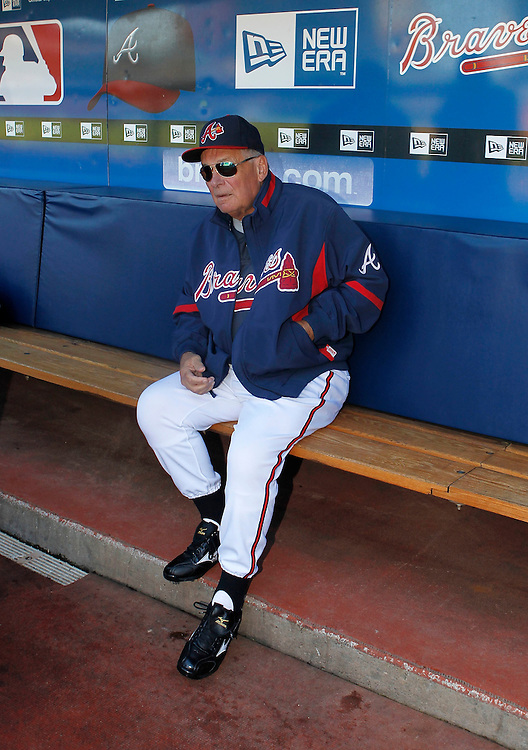 ATLANTA - OCTOBER 3:  Manager Bobby Cox #6 of the Atlanta Braves sits on the bench before the game against the Philadelphia Phillies at Turner Field on October 3, 2010 in Atlanta, Georgia.  (Photo by Mike Zarrilli/Getty Images)