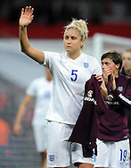 Stephanie Houghton of England Women applauds the fans at the end of the game<br /> - Womens International Football - England vs Germany - Wembley Stadium - London, England - 23rdNovember 2014  - Picture Robin Parker/Sportimage