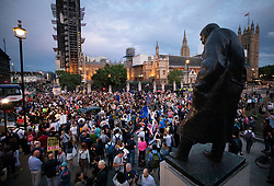 © Licensed to London News Pictures. 28/08/2019. London, UK. Anti-Brexit Protestors gather outside Parliament. Earlier it emerged that The Queen will be asked by the government to suspend Parliament in the days after MPs return to work in September - a few weeks before the Brexit deadline of October 31st. Photo credit: Peter Macdiarmid/LNP