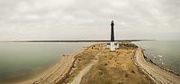 Panoramic aerial view of lighthouse at Sõrve Peninsula, Saaremaa island, Estonia.