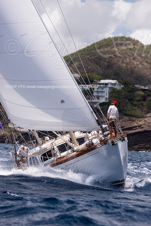 Dragonera sailing in the Antigua Classic Yacht Regatta, Old Road Race.