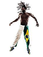 one Brazilian black man on white background