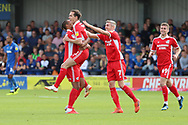 Scunthorpe United midfielder Josh Morris (11) celebrating after scoring goal to make it 0-1 during the EFL Sky Bet League 1 match between AFC Wimbledon and Scunthorpe United at the Cherry Red Records Stadium, Kingston, England on 15 September 2018.