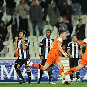 IBBSpor's Tefik Kose (R) celebrate his goal during their Turkish superleague soccer match Besiktas between IBBSpor at BJK Inonu Stadium in Istanbul Turkey on Sunday, 11 December 2011. Photo by TURKPIX