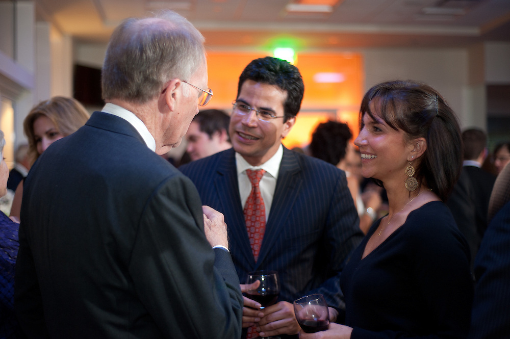 The Four Seasons Residences Austin hosted a party Friday night for current, future and prospective residents. Barry Beazley (L0 visits with Jose and Lissandra Adamas.