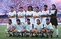 Fotball<br /> Italia<br /> Feature AC Milan<br /> Foto: Colorsport/Digitalsport<br /> NORWAY ONLY<br /> <br /> AC Milan team group : Back row : L to R. Paolo Maldini, Marco Van Basten, Ruud Gullit, Carlo Ancelotti, Frank Rijkaard, ----.<br /> Front : Franco Baresi, Roberto Donadoni,  ---- European Cup final 1989. AC Milan v Steau Bucharest. 24/5/89