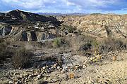 Limestone desert landscape, Los Molinos del Río Aguas, Paraje Natural de Karst en Yesos, Sorbas, Almeria, Spain
