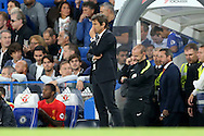 Antonio Conte, the Chelsea manager looking on deep in thought on the touchline. Premier league match, Chelsea v Liverpool at Stamford Bridge in London on Friday 16th September 2016.<br /> pic by John Patrick Fletcher, Andrew Orchard sports photography.