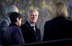 © Licensed to London News Pictures. 29/11/2012. London, UK. Max Mosley, the former head of Formula One (centre), and Shami Chakrabarti, the head of advocacy organisation Liberty (left, purple jacket) are seen talking to press outside the Queen Elizabeth Conference Centre in London today (29/11/12) with other members of the 'Hacked Off' campaign group after hearing the results of Lord Leveson's inquiry into the British media. Photo credit: Matt Cetti-Roberts/LNP