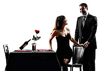 couples lovers dinning romantic dinner in silhouettes on white background
