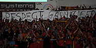 A large contingent of Belgium fans show their support and hold up a banner for Gary Speed. . World cup 2014 qualifying match, Group A, Wales v Belgium at the Cardiff city stadium in Cardiff, South Wales on Friday 7th Sept 2012.  pic by  Andrew Orchard, Andrew Orchard sports photography,