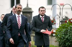 Stoke City Manager Nathan Jones arrives at funeral service for Gordon Banks at Stoke Minster.