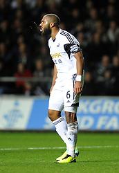 Swansea City's Ashley Williams screams and spits in anger - Photo mandatory by-line: Joe Meredith/JMP - Tel: Mobile: 07966 386802 27/10/2013 - SPORT - FOOTBALL - Liberty Stadium - Swansea - Swansea City v West Ham United - Barclays Premier League