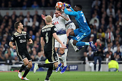 April 30, 2019 - London, England, United Kingdom - Ajax goalkeeper Andre Onana comes out to punch the ball away from Tottenham defender Toby Alderweireld during the UEFA Champions League match between Tottenham Hotspur and Ajax Amsterdam at White Hart Lane, London on Tuesday 30th April 2019. (Credit Image: © Mi News/NurPhoto via ZUMA Press)