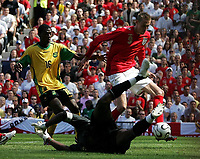 Photo: Paul Thomas.<br /> England v Jamaica. International Friendly. 03/06/2006.<br /> <br /> Peter Crouch of England scores his second goal.