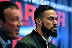 WBO champion Joseph Parker (right) during a pre-fight press conference at the Landmark Hotel, London.