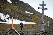 Crosses mark the deaths of famous explorers on Sedov Point, an abandoned Soviet polar station in Franz Josef Land, Russian Arctic.