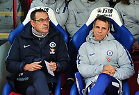 Football - 2018 / 2019 Premier League - Crystal Palace vs Chelsea<br /> <br /> Chelsea manager, Maurizio Sarri with assistant coach Gianfranco Zola at Selhurst Park<br /> <br /> Credit: COLORSPORT/ANDREW COWIE