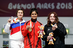 BUENOS AIRES, Oct. 10. 2018  Gold medalist India's Manu Bhaker (C) poses with silver medalist Russia's Iana Enina (L) and bronze medalist Nino Khutsiberidze of Georgia during the awarding ceremony of the women's 10m air pistol final at the 2018 Summer Youth Olympic Games in Buenos Aires, Argentina on Oct. 9, 2018. (Credit Image: © Xinhua via ZUMA Wire)