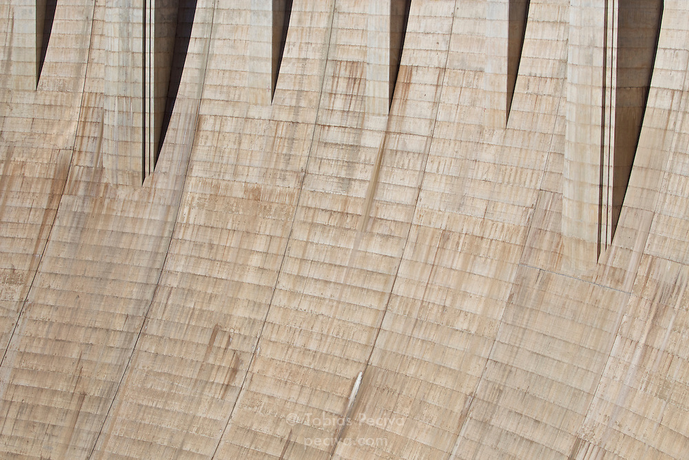 Detail of the concrete face of the Hoover Dam, on the border between Nevada and Arizona.