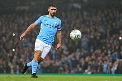 24th October 2017 - Carabao Cup (4th Round) - Manchester City v Wolverhampton Wanderers - Sergio Aguero of Man City scores the winning penalty in the shootout with a penenka - Photo: Simon Stacpoole / Offside.