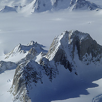 Antarctica. Organ Pipe Peaks in the Gothic Mountains, a range of Queen Maud Mountains, in the vast Trans-Antarctic Mountains.  Mount Andrews & Sanctuary Glacier background.  Albanus Glacier far bkg.