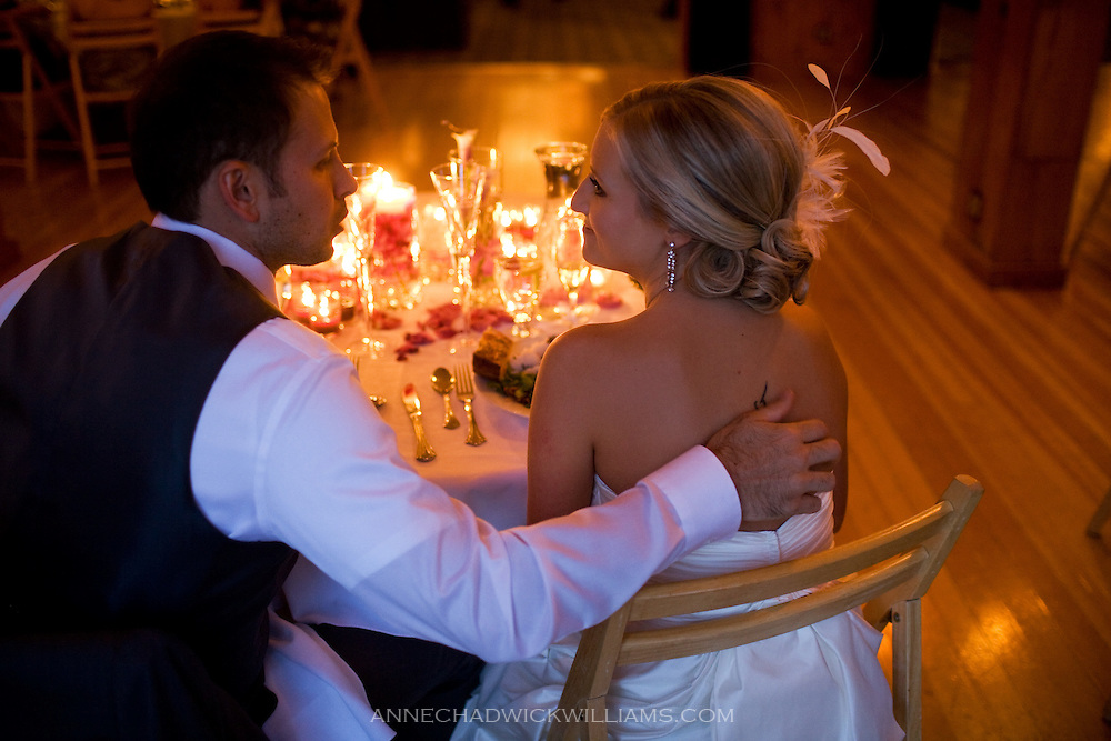 Bride and groom at Forest House Lodge in Foresthill, CA.