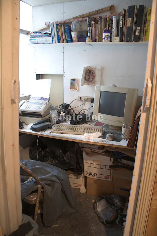 a small very messy office